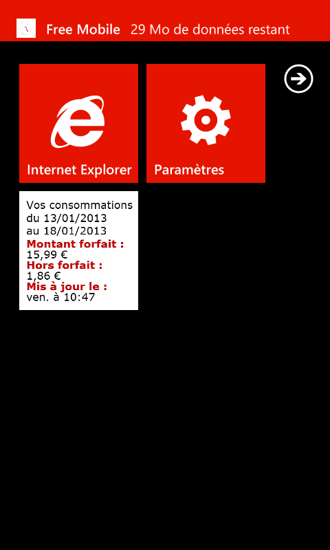 Mon compte Free Mobile - Notification